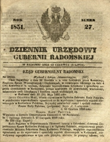 Dziennik Urzędowy Gubernii Radomskiej, 1851, nr 27