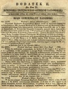 Dziennik Urzędowy Gubernii Radomskiej, 1851, nr 27, dod. II