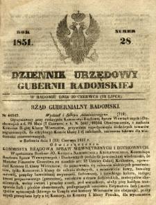 Dziennik Urzędowy Gubernii Radomskiej, 1851, nr 28