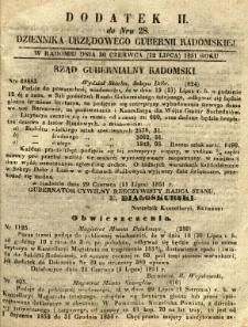 Dziennik Urzędowy Gubernii Radomskiej, 1851, nr 28, dod. II