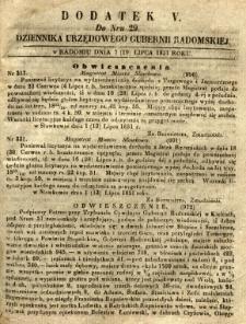 Dziennik Urzędowy Gubernii Radomskiej, 1851, nr 29, dod. V