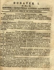Dziennik Urzędowy Gubernii Radomskiej, 1851, nr 30, dod. I