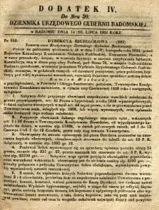 Dziennik Urzędowy Gubernii Radomskiej, 1851, nr 30, dod. IV