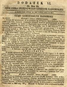 Dziennik Urzędowy Gubernii Radomskiej, 1851, nr 30, dod. VI