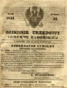 Dziennik Urzędowy Gubernii Radomskiej, 1851, nr 31