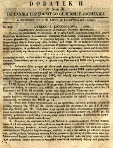 Dziennik Urzędowy Gubernii Radomskiej, 1851, nr 31, dod.II