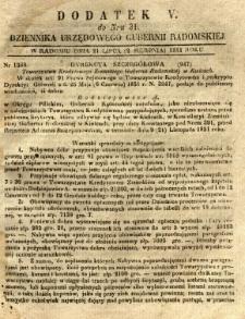 Dziennik Urzędowy Gubernii Radomskiej, 1851, nr 31, dod.V