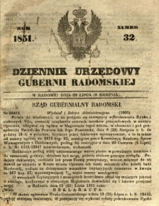 Dziennik Urzędowy Gubernii Radomskiej, 1851, nr 32