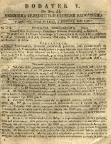 Dziennik Urzędowy Gubernii Radomskiej, 1851, nr 32, dod.V