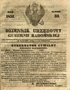 Dziennik Urzędowy Gubernii Radomskiej, 1851, nr 33