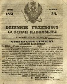 Dziennik Urzędowy Gubernii Radomskiej, 1851, nr 34