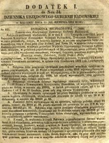 Dziennik Urzędowy Gubernii Radomskiej, 1851, nr 34, dod. I
