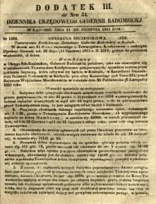Dziennik Urzędowy Gubernii Radomskiej, 1851, nr 34, dod. III