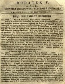 Dziennik Urzędowy Gubernii Radomskiej, 1851, nr 34, dod. V
