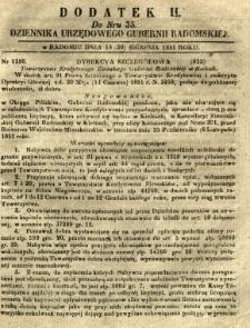 Dziennik Urzędowy Gubernii Radomskiej, 1851, nr 35, dod. II