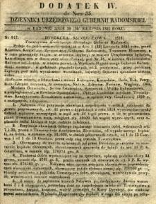 Dziennik Urzędowy Gubernii Radomskiej, 1851, nr 35, dod. IV