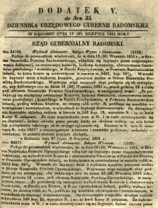 Dziennik Urzędowy Gubernii Radomskiej, 1851, nr 35, dod. V