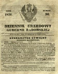 Dziennik Urzędowy Gubernii Radomskiej, 1851, nr 36