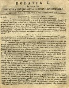 Dziennik Urzędowy Gubernii Radomskiej, 1851, nr 36, dod. I