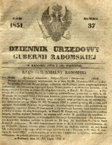 Dziennik Urzędowy Gubernii Radomskiej, 1851, nr 37