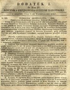 Dziennik Urzędowy Gubernii Radomskiej, 1851, nr 37, dod. I