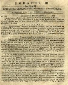 Dziennik Urzędowy Gubernii Radomskiej, 1851, nr 37, dod. III