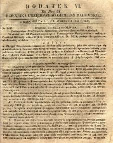 Dziennik Urzędowy Gubernii Radomskiej, 1851, nr 37, dod. VI