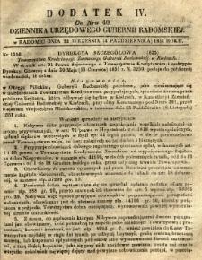 Dziennik Urzędowy Gubernii Radomskiej, 1851, nr 40, dod. IV