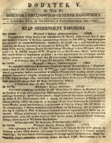 Dziennik Urzędowy Gubernii Radomskiej, 1851, nr 40, dod. V