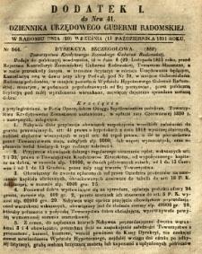 Dziennik Urzędowy Gubernii Radomskiej, 1851, nr 41, dod. I