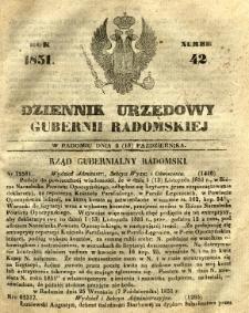 Dziennik Urzędowy Gubernii Radomskiej, 1851, nr 42