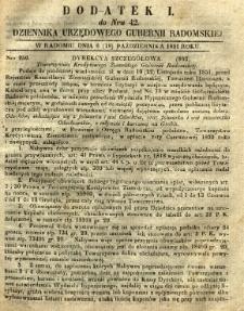 Dziennik Urzędowy Gubernii Radomskiej, 1851, nr 42, dod. I