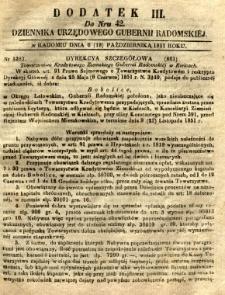 Dziennik Urzędowy Gubernii Radomskiej, 1851, nr 42, dod. III