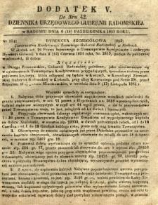 Dziennik Urzędowy Gubernii Radomskiej, 1851, nr 42, dod. V
