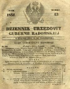 Dziennik Urzędowy Gubernii Radomskiej, 1851, nr 43