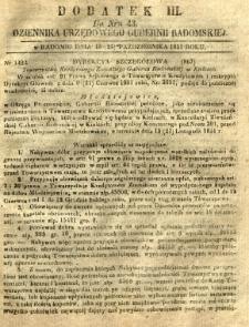 Dziennik Urzędowy Gubernii Radomskiej, 1851, nr 43, dod. III