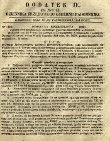Dziennik Urzędowy Gubernii Radomskiej, 1851, nr 43, dod. IV