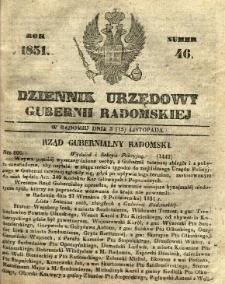 Dziennik Urzędowy Gubernii Radomskiej, 1851, nr 46