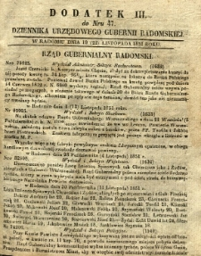 Dziennik Urzędowy Gubernii Radomskiej, 1851, nr 47, dod. III