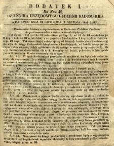 Dziennik Urzędowy Gubernii Radomskiej, 1851, nr 49, dod. I