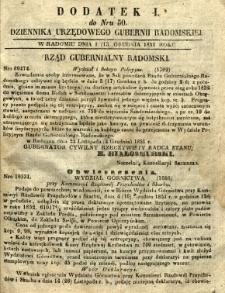 Dziennik Urzędowy Gubernii Radomskiej, 1851, nr 50, dod. I