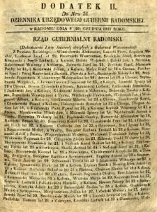 Dziennik Urzędowy Gubernii Radomskiej, 1851, nr 51, dod. II