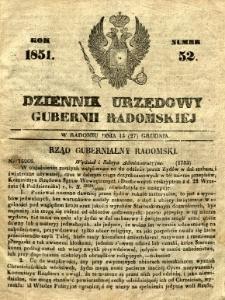 Dziennik Urzędowy Gubernii Radomskiej, 1851, nr 52