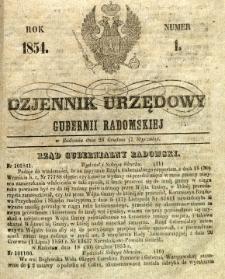 Dziennik Urzędowy Gubernii Radomskiej, 1854, nr 1