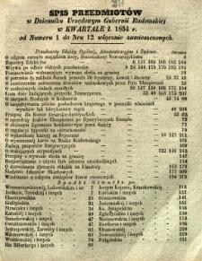 Spis Przedmiotów w Dzienniku Urzędowym Gubernii Radomskiej w kwartale I 1854 r. od numeru 1 do nr 12 włącznie zamieszczonych