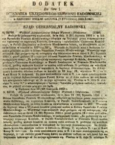 Dziennik Urzędowy Gubernii Radomskiej, 1854, nr 1, dod. I