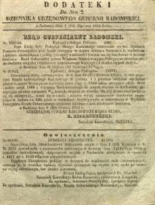 Dziennik Urzędowy Gubernii Radomskiej, 1854, nr 2, dod. II