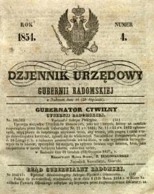 Dziennik Urzędowy Gubernii Radomskiej, 1854, nr 4