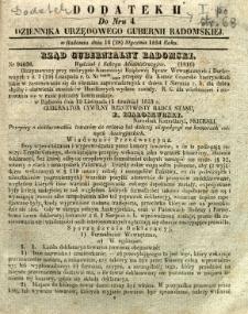 Dziennik Urzędowy Gubernii Radomskiej, 1854, nr 4, dod. II