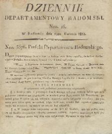 Dziennik Departamentowy Radomski, 1812, nr 16